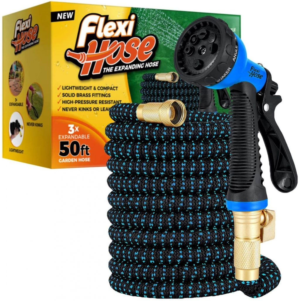 Flexi Hose with 8 Function Nozzle and is a drinking water safe garden hose that is also collapsible.